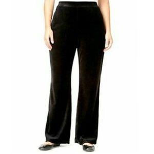 Style & Co black velour mesh stripe lounge pants